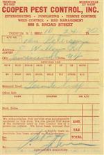 1960 cooper pest service ticket