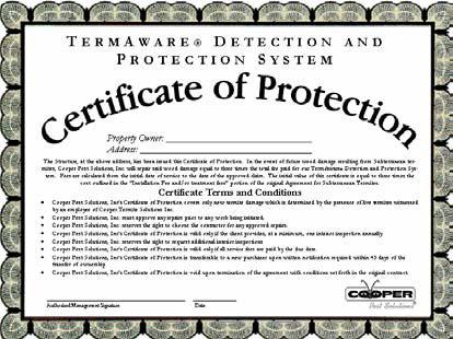 Termaware Certificate of Protection